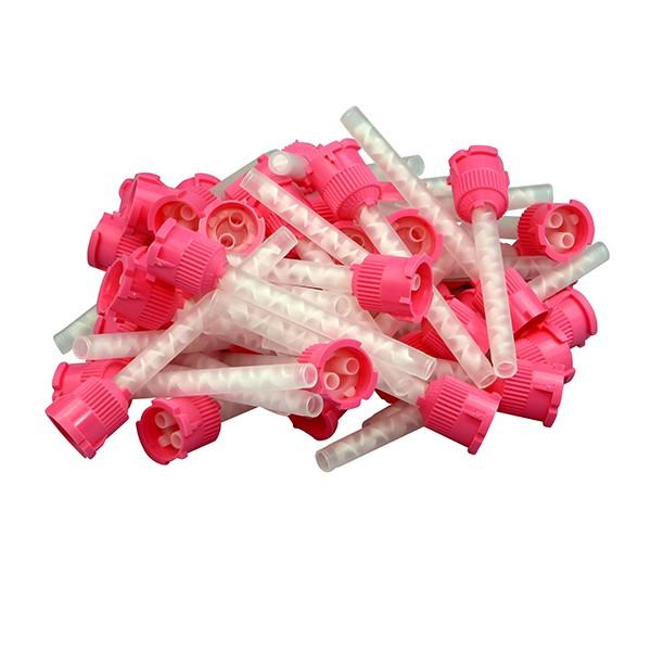 Mischkanülen rosa mit Bajonett-Verriegelung, 50 Stück